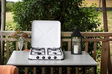 The camping gas hob on the deck is perfect for those warmer days, when you don't want to light the range.
