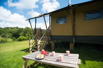 Campion is on the far side of the meadow and has its own sheltered area with picnic table and barbecue.