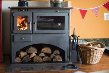 The log-fired range will keep you warm and toasty in the cooler months (logs are inclusive).