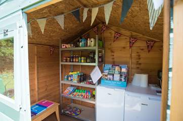 The honesty shop has a fridge and freezer selling all sorts of goodies.