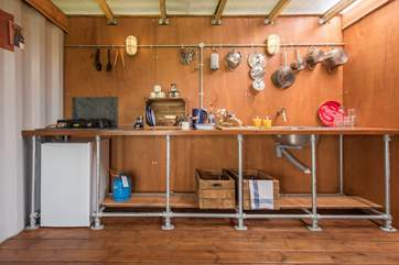 Plenty of preparation space too for your glamping meals.