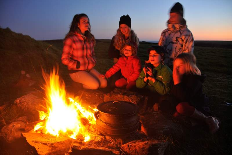 This is what these holidays are all about; making memories with campfires and sea air in the countryside.