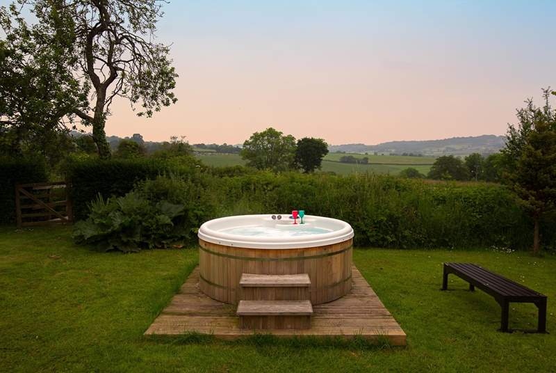 The wonderful hot tub with a view for miles. Enjoy a dawn dip if you aren't having a holiday lie-in, or an evening soak waiting for the night sky.