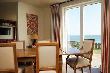 The dining-area has sea views.