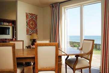 Sea views from the dining-area.