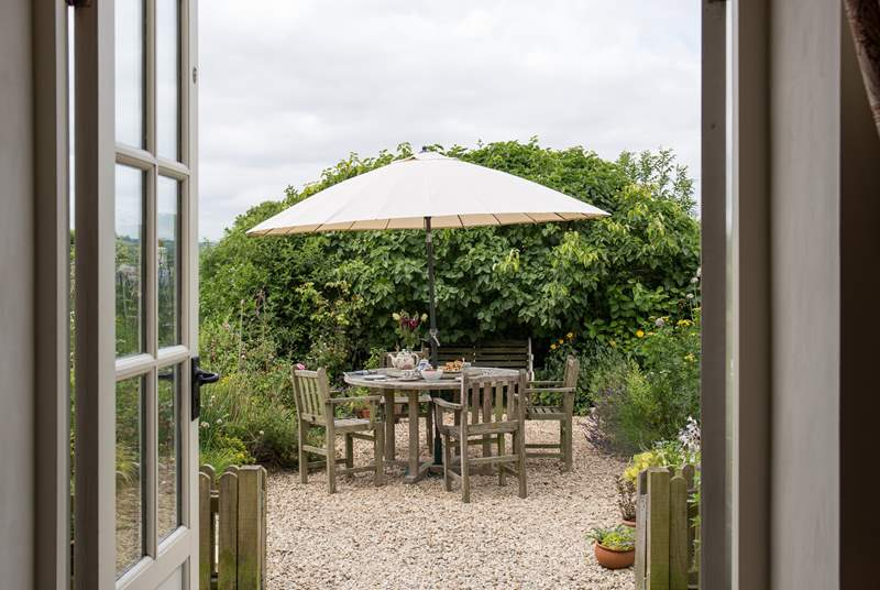 The garden is a delightful place to sit, with views right over the top of Colyton and to the countryside beyond.