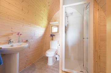 The fully-functioning shower-room - yes this is really glamping!