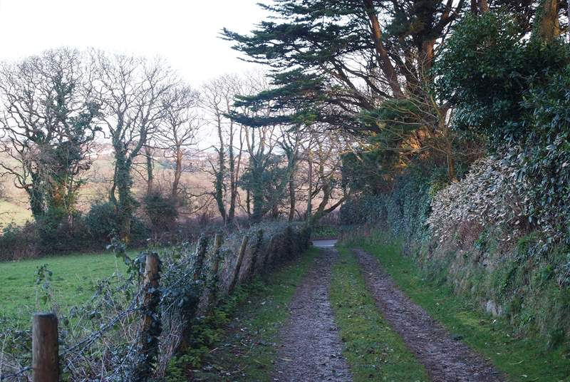 The track from the barn to the road through the village, your route to the pub.
