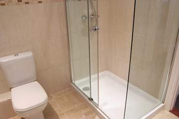 The double shower cubicle.