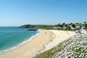 Gyllyngvase Beach with its arch of golden sand and inviting sea has Blue Flag status.