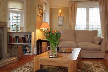 Lovely flowers in the sitting-room.