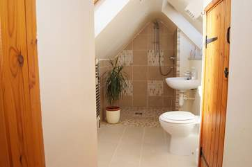 What a surprise, not what you might expect to find in a small Cornish cottage and even if you are six feet tall, you can fit under the shower!
