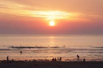 Sunset at Porthtowan beach in the summer.