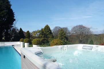 The hot tub is available all year round.