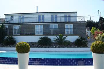 Looking back at Piran House from the pool.