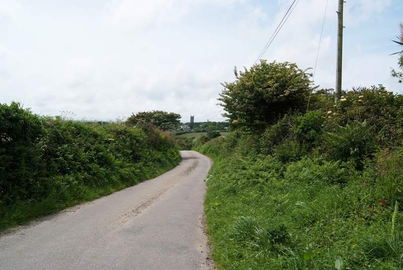 The lane between the barn and the village of Crowan.