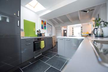 Spacious and modern, the kitchen-area.