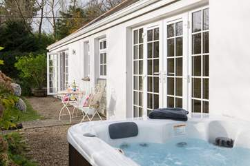 French doors lead out from the bedroom so you can just pop out and jump in!