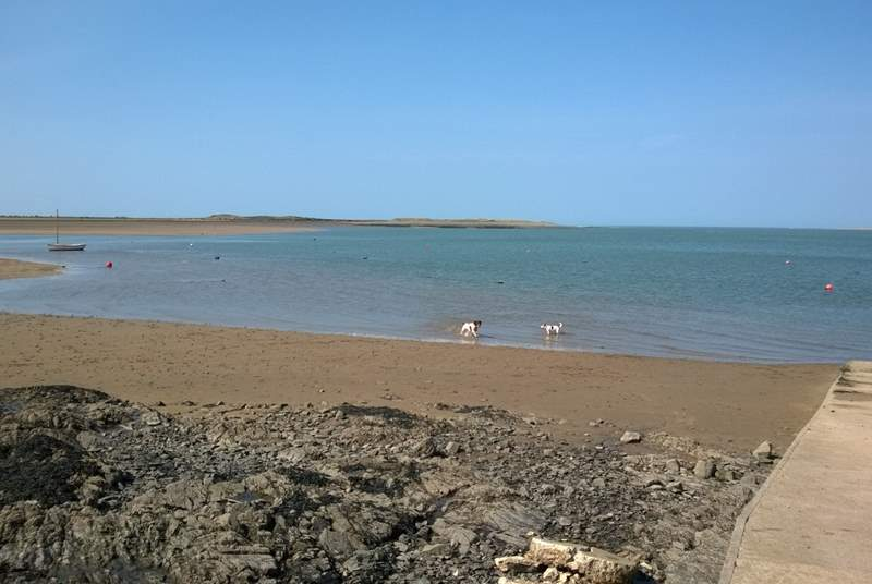 A few hundred yards down the road you can stroll down the slipway at low tide for a sandy stretch of beach for four legged friends and children to enjoy.