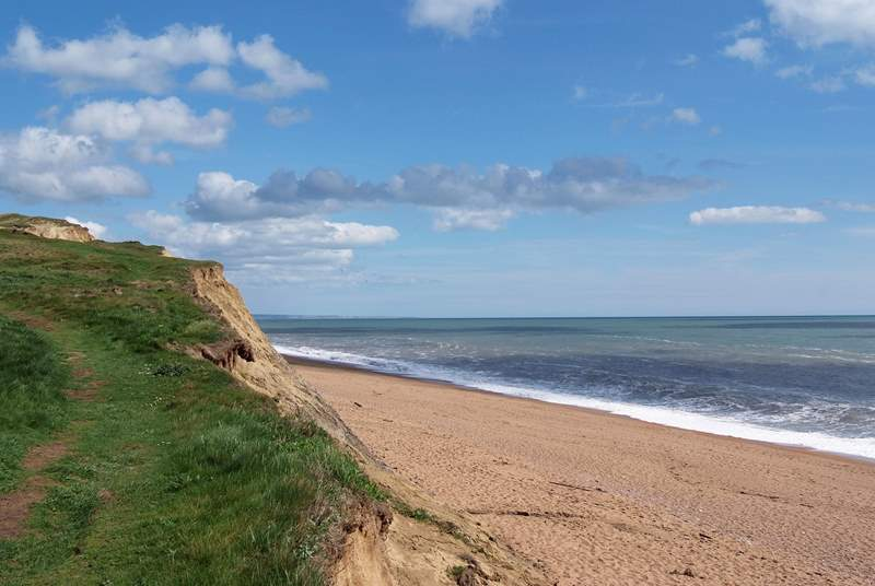 The Jurassic Coast is stunning. This is the closest beach at Burton Bradstock, four miles from Sturthill Stable - there is a famous cafe here too - The Hive Beach Cafe. Well worth a visit.