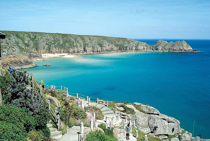 This is Porthcurno, where you can book tickets and experience the famous open-air theatre (The Minack).