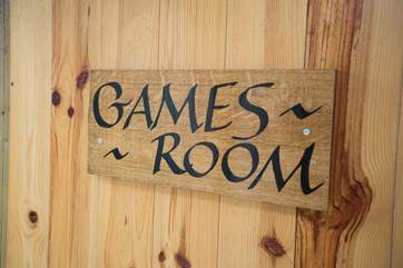 The games-room is just next to the front door to Lambs Lawn, in part of one of the farm's barns.