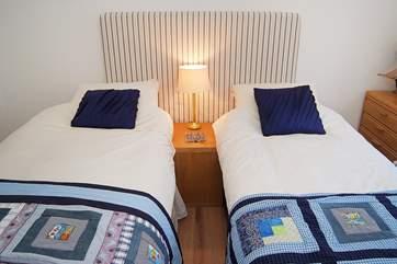 Bedroom 2 has 3' twin beds.