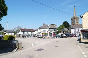 St Keverne's village square, where there are two pubs, a butcher and an excellent little general store.