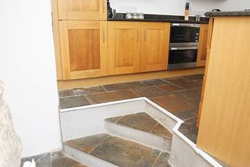 Take care on the steps up to the kitchen.