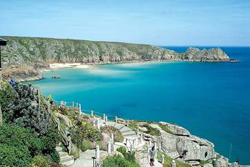 The beautiful beach and the open-air Minack Theatre at Porthcurno are approximately six miles away.