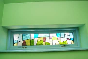 This stained glass window has been specially made for Stargazy Skies.