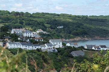 Mears Cottage is located just off the South West Coast Path and can be seen on the far left of the photograph.
