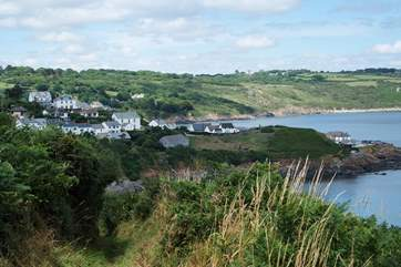 The view back to Coverack and the cottage from further up the path.