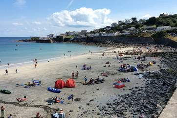 Coverack has a large bay with lots of room for everyone when the tide is out.