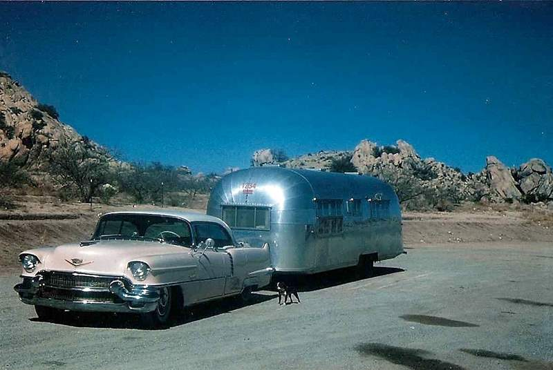 What better than a pink Cadillac and an Airstream behind - this photo dates to the early sixties.
