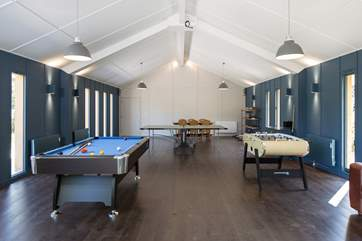 Complete with pool table, table-tennis and table-football.