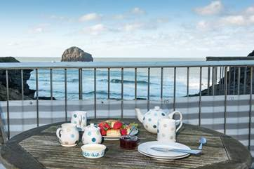 Enjoy the view from the terrace whilst indulging ina Cornish Cream tea - go on treat yourself, you are on holiday!