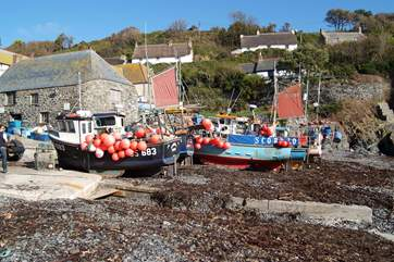 The pretty cove of Cadgwith is a thriving fishing village where you can watch the fishermen return with their catch.