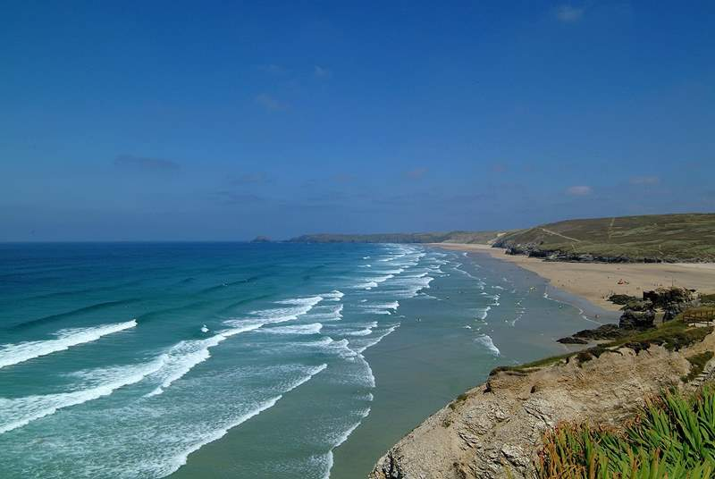 The beach at Perranporth is one of Cornwall's finest beaches and is just down the road from Sunnyside Cottage.