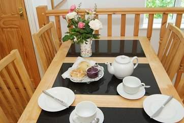 A welcoming cream tea awaits on arrival.