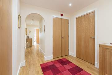 The single and twin bedrooms are off the entrance hall, one to the right and one to the left.