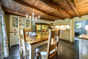The gorgeous kitchen/diner in the cottage.