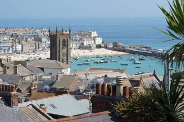 Overlooking the rooftops towards St Ives which is just two miles away from Trevail.