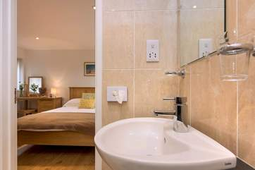 The stylish en suite shower-room.