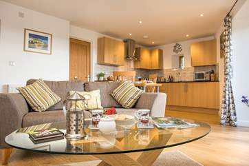 The open plan living-room is lovely and spacious for two people.