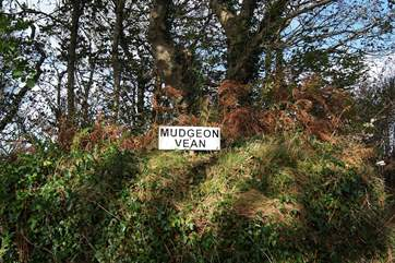 The sign at the end of the lane for Mudgeon Vean, you are nearly there.