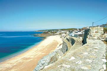 Porthleven Sands, the long beach to the east of the harbour. There are strong undercurrents and submerged rocks which make swimming inadvisable, though popular with experienced surfers and those who l