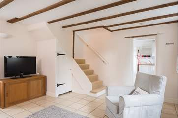 The stairs take you up to your double bedroom, the shower-room is on the ground floor.