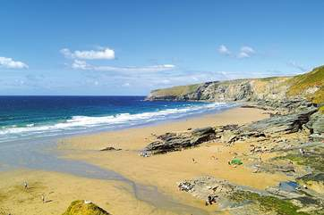 The popular Trebarwith Strand beach.