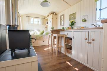 Including underfloor heating and a cosy little wood-burner for the cooler days.
